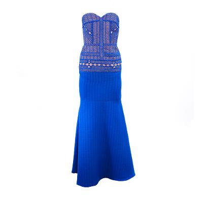 tube top mermaid long dress blue